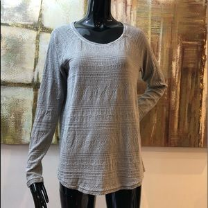 Lucky Brand Thermal Geometric Embossed Knit Top L